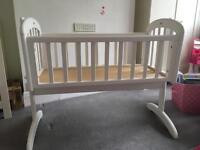 John Lewis swinging crib in white