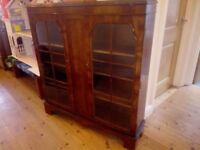 Display cabinet with glass doors, old style wood