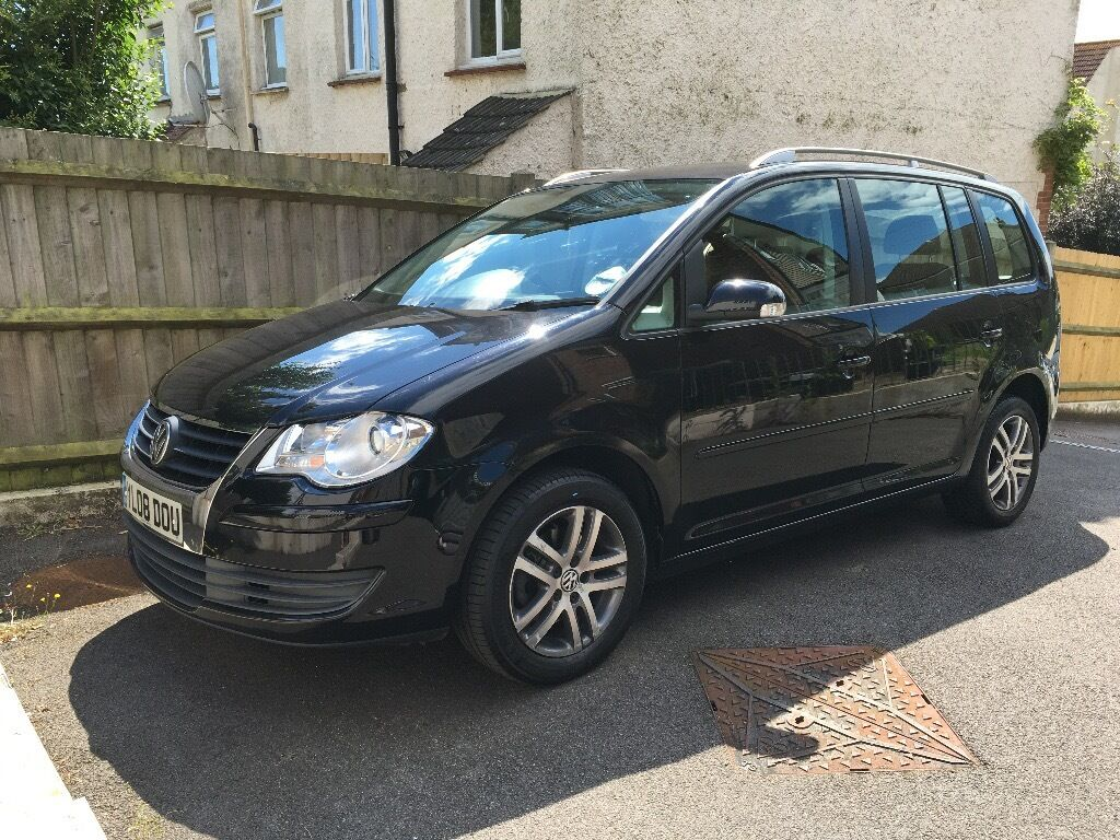 for sale vw touran black 1 9 tdi 7 seater 2008 low mileage family car diesel manual. Black Bedroom Furniture Sets. Home Design Ideas