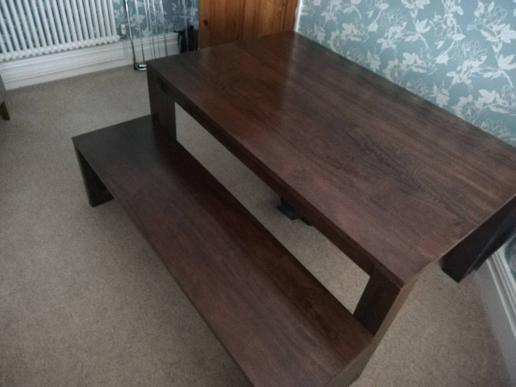 Dark Wood Dining Room Table And 2 Benches