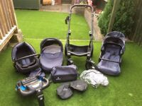 Venicci 3 in 1 Travel System Black Frame/Carbon Material With ISOFIX Base