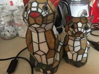 Two Tiffany style cat table lamps in excellent condition