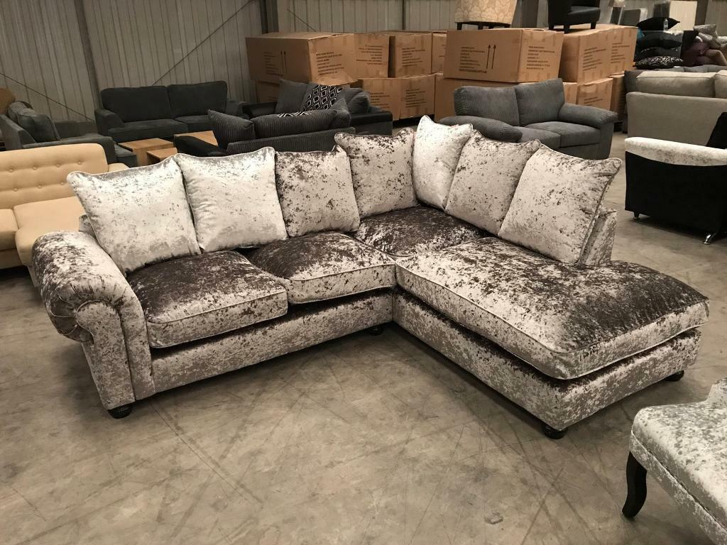 Brand New Silver Crushed Velvet Corner Sofa