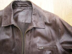Men's Quality Brown Leather Jacket 38-40 inch chest, Medium, M&S, Hardly worn