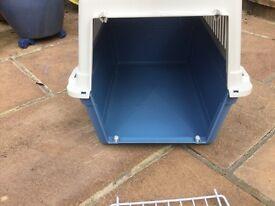 Blue and cream dog travel box