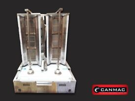 CANMAC LPG DOUBLE DONER KEBAB MACHINE 3 BURNER, COMPACT,SLIM SIZE, BRAND NEW