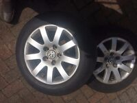 VW 16 inch 9 spoke alloy rims with tyres