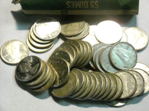 Roll (50) Pre-1967 Canada .800 Fine Silver Dimes Elizabeth II & George VI.#4