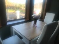 Dining Table And 4 Full Leather White Chairs