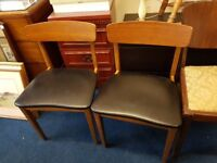 Pair of Retro Style Teak and Black Leatherette Chairs