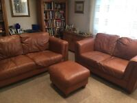 Mid brown comfy leather sofa set for sale; 2 & 3 seater sofas in good used condition with footstool