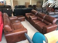 REAL ITALIAN LEATHER 4 PIECE SUITE 3 AND 2 SEATER SOFA PLUS ARMCHAIR & STORAGE OTTOMAN FOOT STOOL
