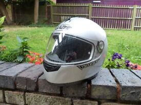 Motorcycle helmet, gloves, boots, two piece armoured wet weather gear