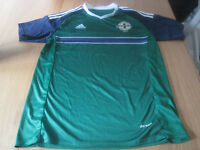 "2x Northern Ireland home shirts, Umbro Glentoran & Adidas ""Messi"""
