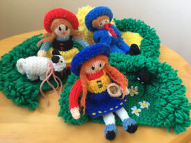 3 vintage hand-knitted nursery rhyme toys- Little Boy Blue,Mary Had A Little Lamb,Little Miss Muffet