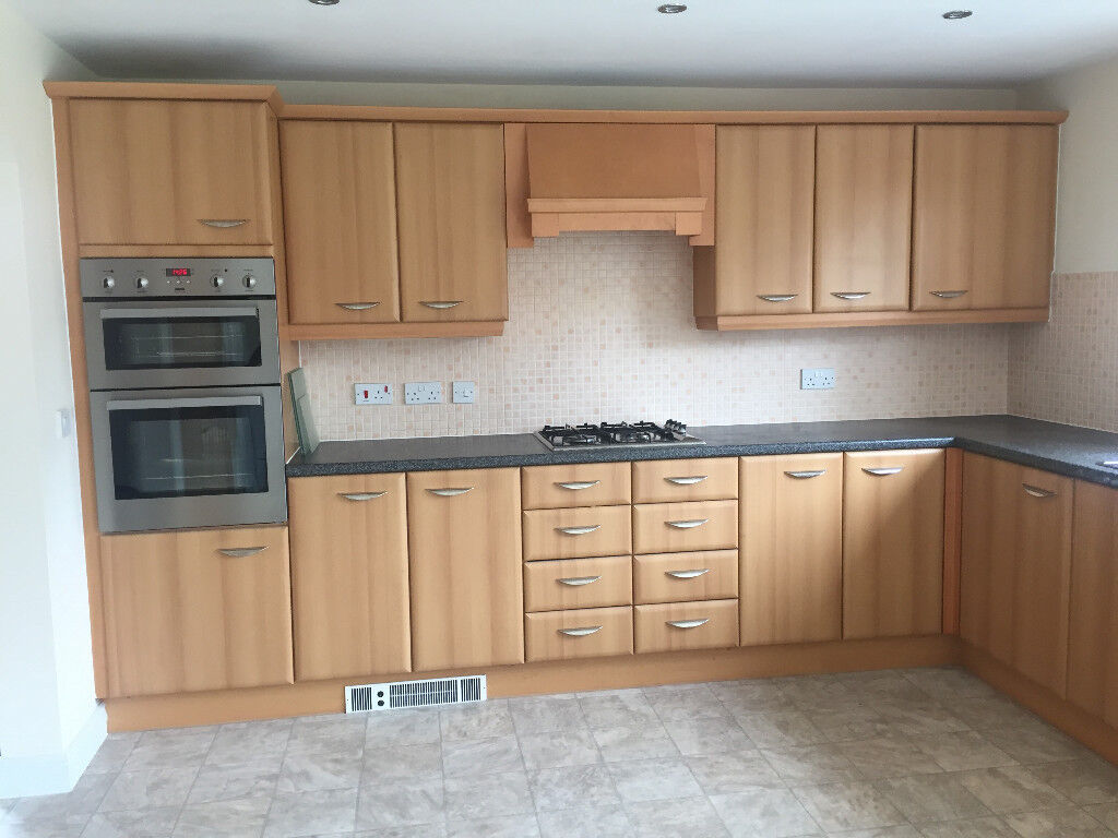 Used Beech Kitchen with Integrated Fridge Freezer