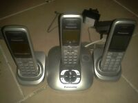 3 sets of cordless telephones, Panasonic & BT like new