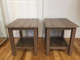 2 Wooden Bedside Tables ( Identical Pair ) - Brown / Grey / Mauve colour - Excellent Condition