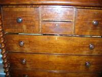 """VICTORIAN MAHOGANY """"OGEE"""" HIGHBOY CHEST OF DRAWERS1850 SCOTLAND"""""""