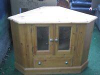 Pine TV Corner Cabinet