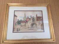 Victorian period watercolour of St Anne's Gate, Salisbury