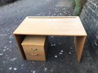 Desk + filing cabinet