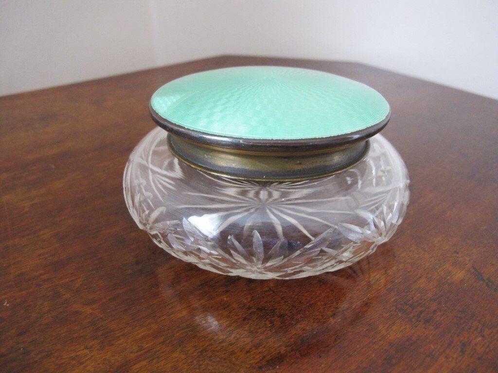 Art Deco enamel powder bowl