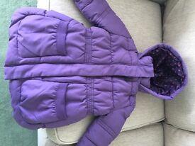 John Lewis girls purple padded coat age 6 hardly used