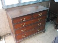 QUALITY ANTIQUE MAHOGANY CHEST OF DRAWERS.'2 OVER 3' LAYOUT. SOLID & STURDY. VIEWING/DELIVERY POSS