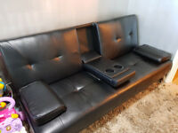 LUXURY LEATHER SOFA BED CLICK CLACK WITH A ARM REST AND CUP HOLDERS