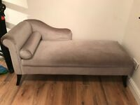 Grey velvet chaise lounge