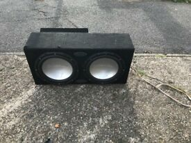 TWIN BASS BOX WITH AMPLIFIER STRONG GOOD WORKING CONDITION LOUD MODIFY MODIFIED CAR