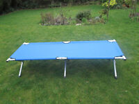 aluminium frame folding single camping bed with blue cover