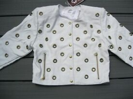 Womens White Leather Metal Eyelet Motor Punk Long Sleeve Bomber Jacket 14 - Brand New With Tags