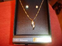 Gold Plated Earrings and Pendant with Chain---Brand New in Box
