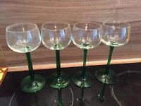 4 French wine glasses vintage