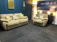 Gorgeous cream/oatmeal tweed fabric suite 3 seater sofa and armchair