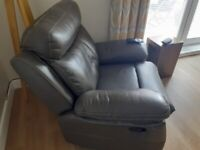 Grey leather (faux) recliner