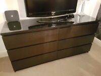 Ikea Malm 6 dark wood chest of drawers with glass top