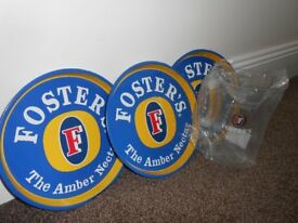 3 Fosters Metal Trays & New Fosters 4 Pint Pitcher Jug.