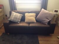 2 Seater. Brown faux leather sofa