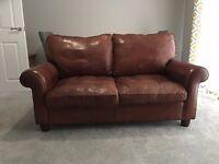 Brown Leather 2 Seater Sofa - Laura Ashley Abingdon