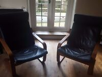 Black leather sofa and two leather armchairs, Ikea