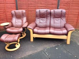 Ekornes Stressless Two seater reclining sofa and medium reclining chair / armchair and footstool