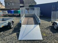 BRAND NEW MODEL 8.7x4.2 TWIN AXLE TRAILER WITH 80CM MESH WITH RAMP TIPPING 750KG