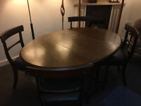 Fab Barley Twist Gate-leg Drop Leaf Dining Table & 4 Victorian Mahogany Green Leather Dining Chairs