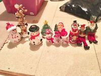 Job lot Christmas decorations Candle holders light up snowmen shelf sitting ornaments etc IMMACULATE