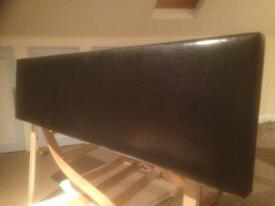 Black leather effect headboard for double bed