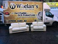3 and 2 seater sofa in cream leather MINT MINT CONDITION