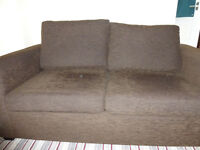 small double bed settee metal frame brown corduroy